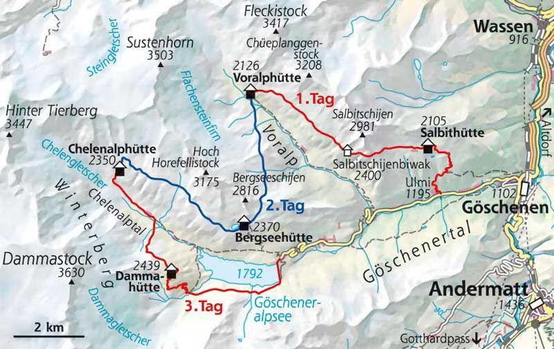 Wanderkarte Huttentour Goschenertal Schweiz Huttentouren