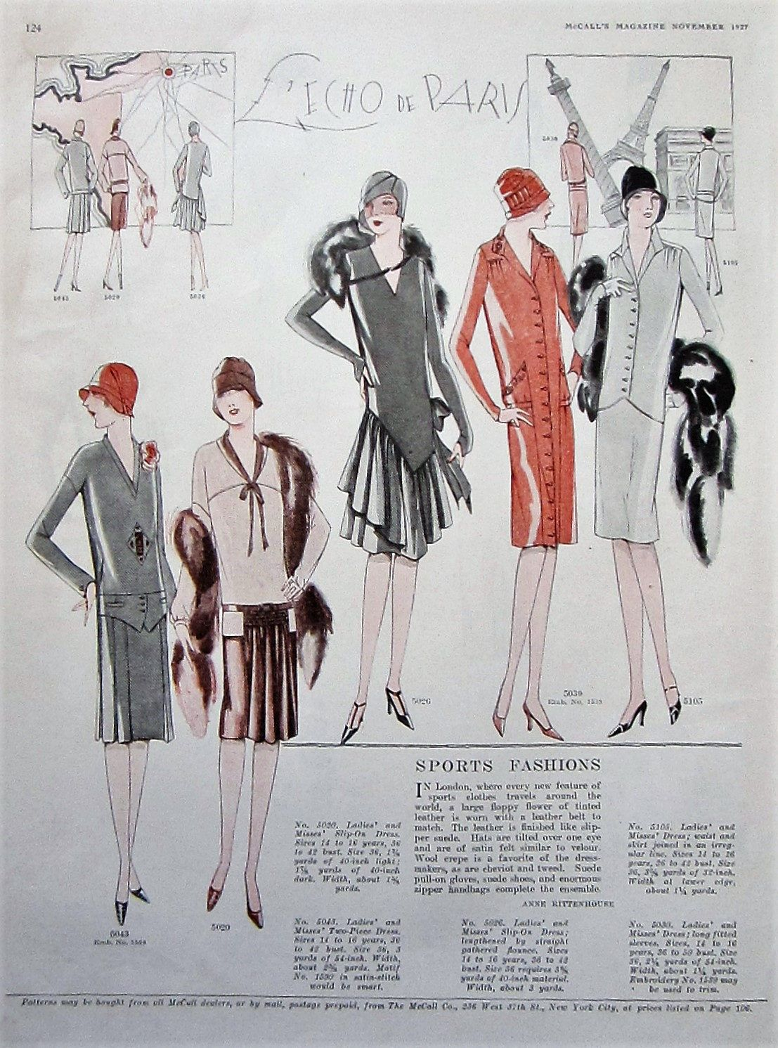 1927 Vintage Womens Fashion Print Bedroom Wall Art Boutique Decor