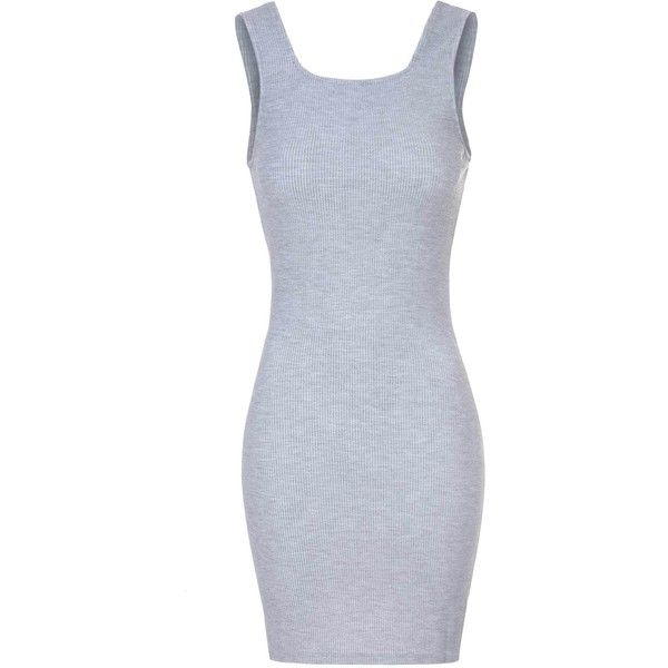 Grey Marl Square Front Bodycon Dress ($31) ❤ liked on Polyvore