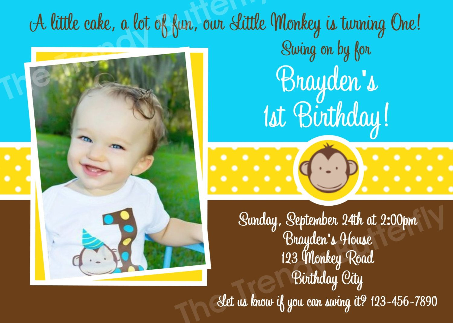 Monkey Birthday Invitation Monkey Birthday by TheTrendyButterfly ...