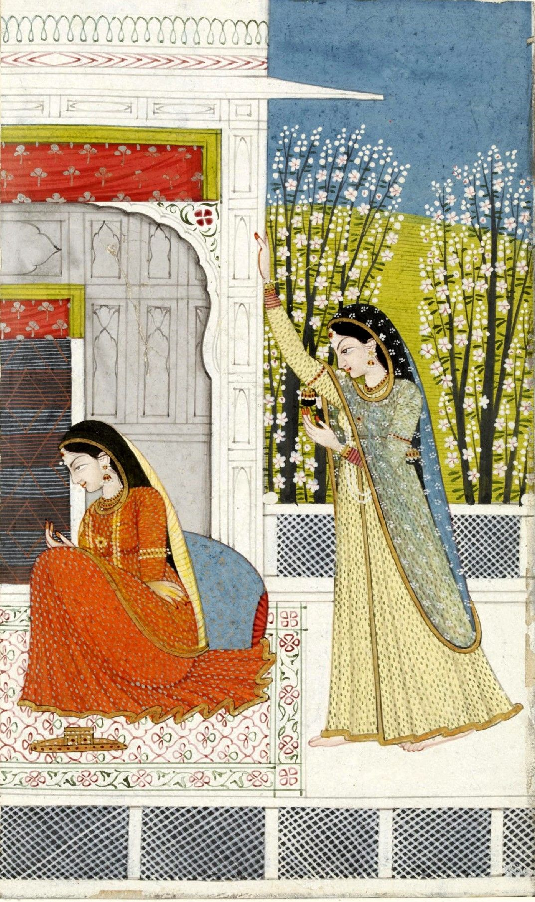 Radha seated on a carpet on a terrace, being consoled by a companion, illustration to a Nayaka Nayika series. Garhwal, ca. 1780-1790