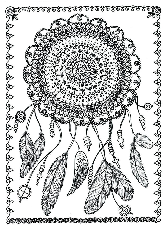 Dream Catcher Abstract Doodle Zentangle Paisley Coloring Pages
