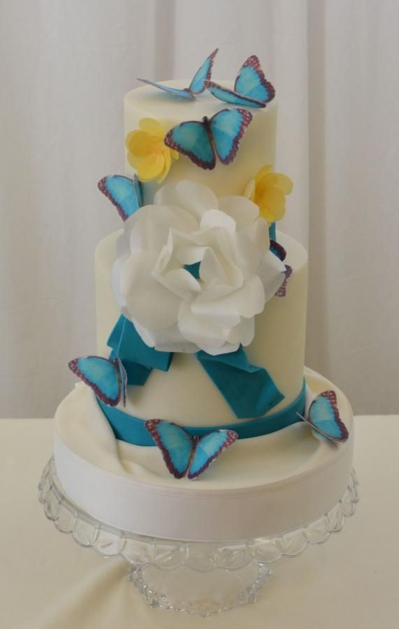 Turquoise with Wafer Paper Flowers and Butterflies
