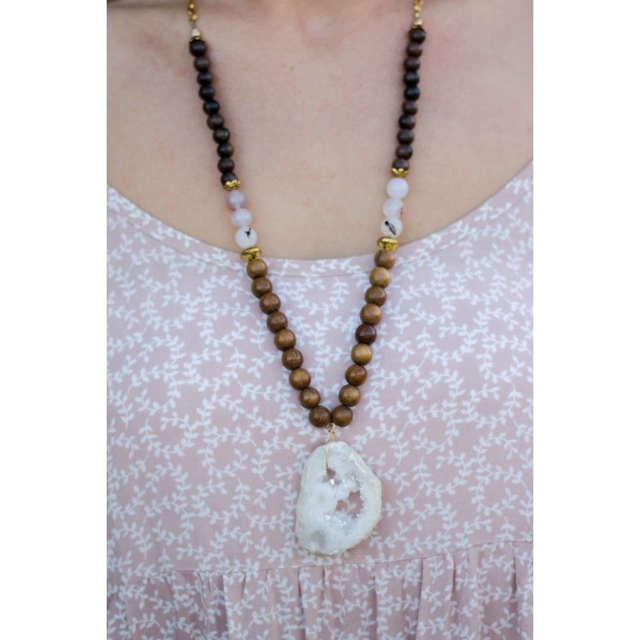 Young, Wild, and Free Necklace #customjewelry #druzy #beadedjewelry Each necklace has a one-of-a-kind white large druzy with sparkle!
