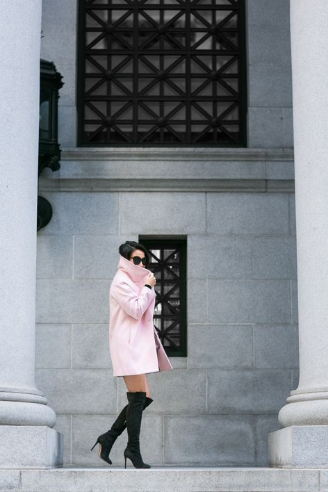 48cce6ea56b9 San Francisco :: Rose coat & Turtleneck sweater dress by Wendy's Lookbook.  { Love those Gianvito Rossi boots! }