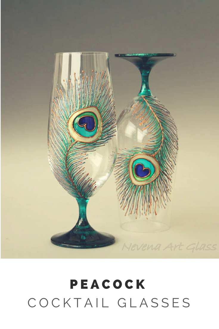 Set Of 2 Peacock Glasses Beer Glasses Beer Wedding Cocktail Glasses Peacock Decor Ad Wedding