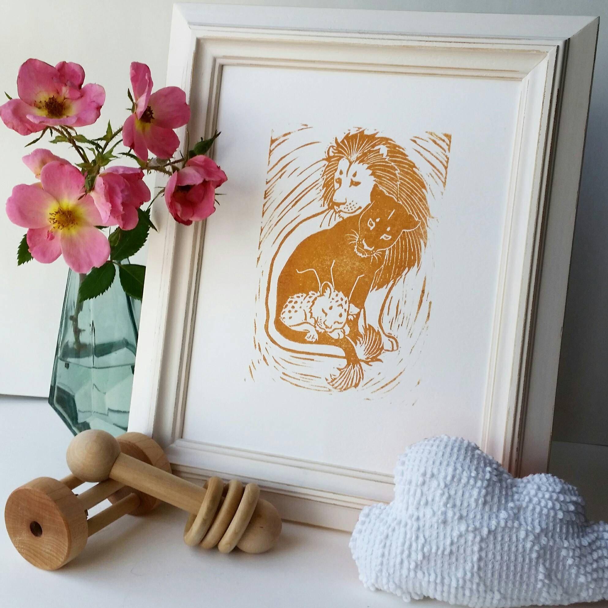 Framed Safari Lion Family, Lion Nursery, Lion Wall Art, Baby