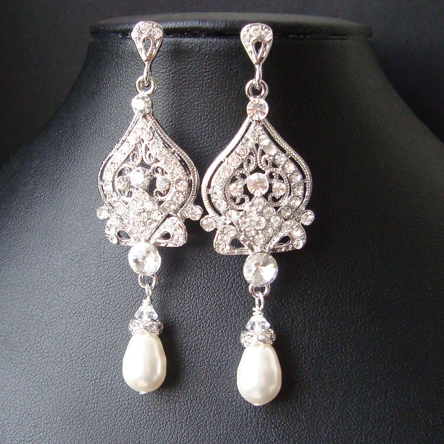 Vintage bridal earrings chandelier wedding earrings art deco vintage bridal earrings chandelier wedding earrings art deco bridal jewelry pearl wedding jewelry mozeypictures Image collections