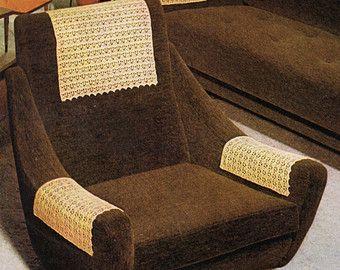 Etsy Antimacassar Inspirations Vintage Crochet Pattern 1960s Antimacassars Crochet Chair Arm Covers Croch Crochet Furniture Couch Arm Covers Arm Chair Covers