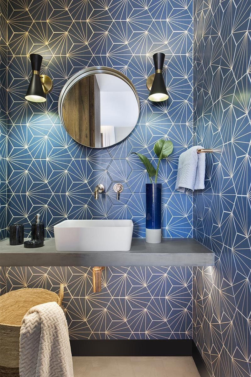 Bathroom Design Ideas A Blue Starburst Tile Demands Attention In 2020 Bathroom Design Modern Bathroom Design Blue Bathroom