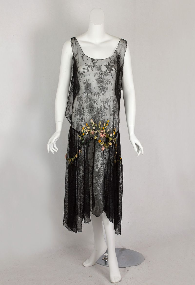 Chantilly lace flapper dress with ribbon art flowers c while