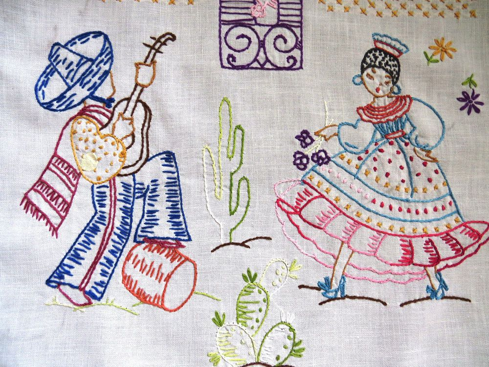 Hand Embroidered Spanish Mexican Theme Dresser Scarf Runner Crochet Hem Vintage Hand Embroidered Vintage Tablecloths Linen Textile