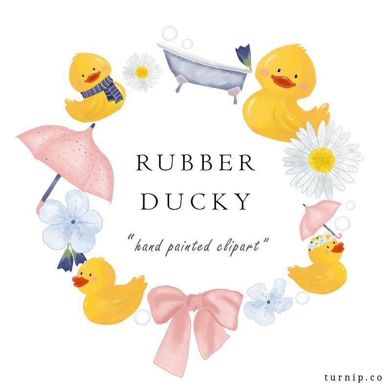 Watercolor Rubber Duck Clip Art Umbrella Clipart Png Floral
