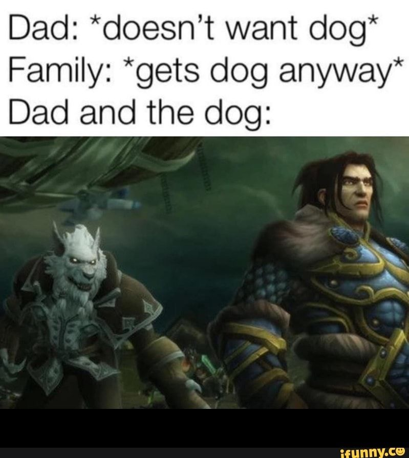 Dad Doesn T Want Dog Family Gets Dog Anyway Dad And The Dog Ifunny Warcraft Funny Memes Funny Animal Memes