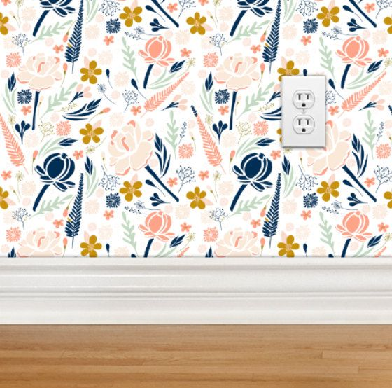 Floral Wallpaper Coral And Navy Gold Removable Wallpaper Etsy Girl Nursery Wallpaper Removable Wallpaper Nursery Wallpaper