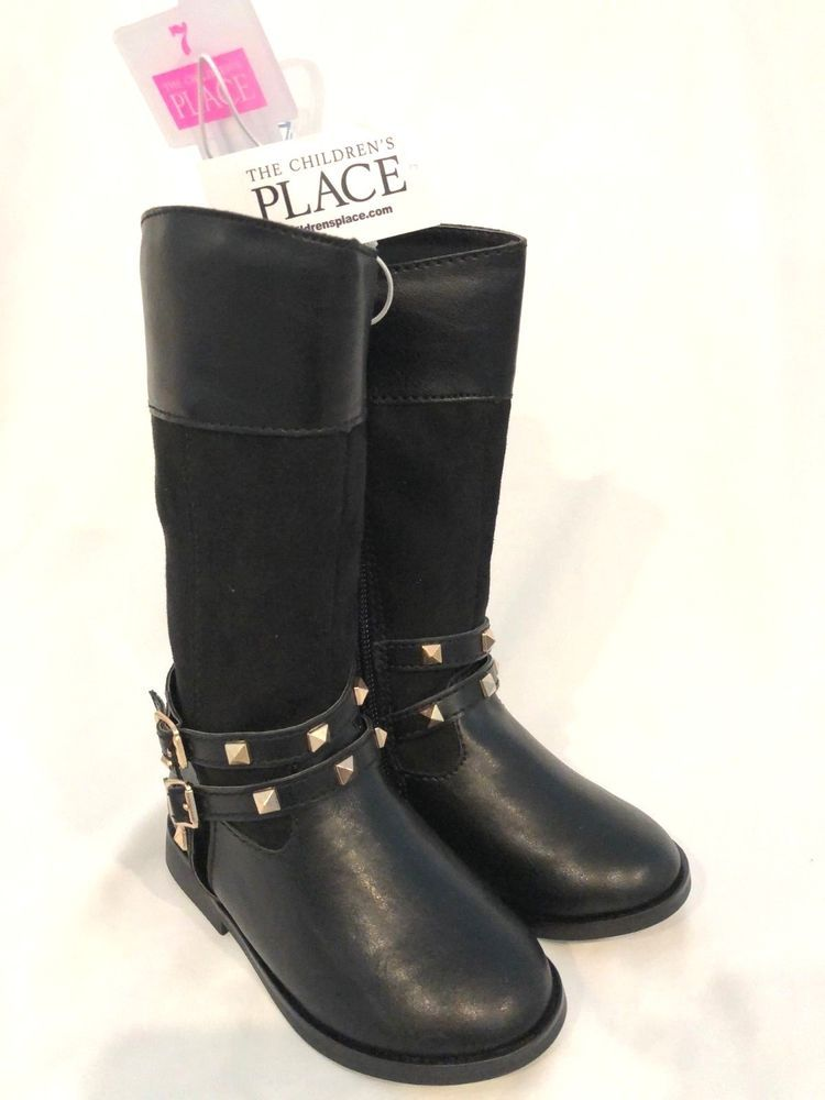 6c64be360 Children's Place Toddler Girl Black Faux Leather Tall Boots Size 7 NEW  191755393681 | eBay