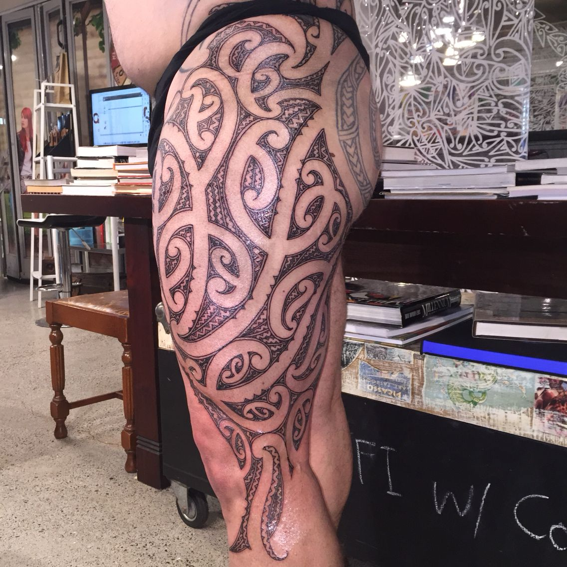 Maori Thigh Piece Fill Completed