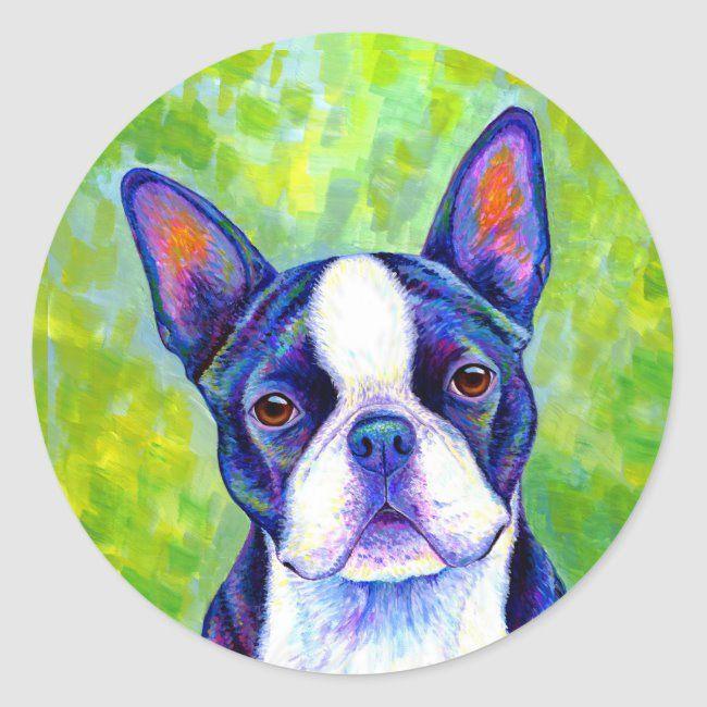 Colorful Boston Terrier Dog Sticker