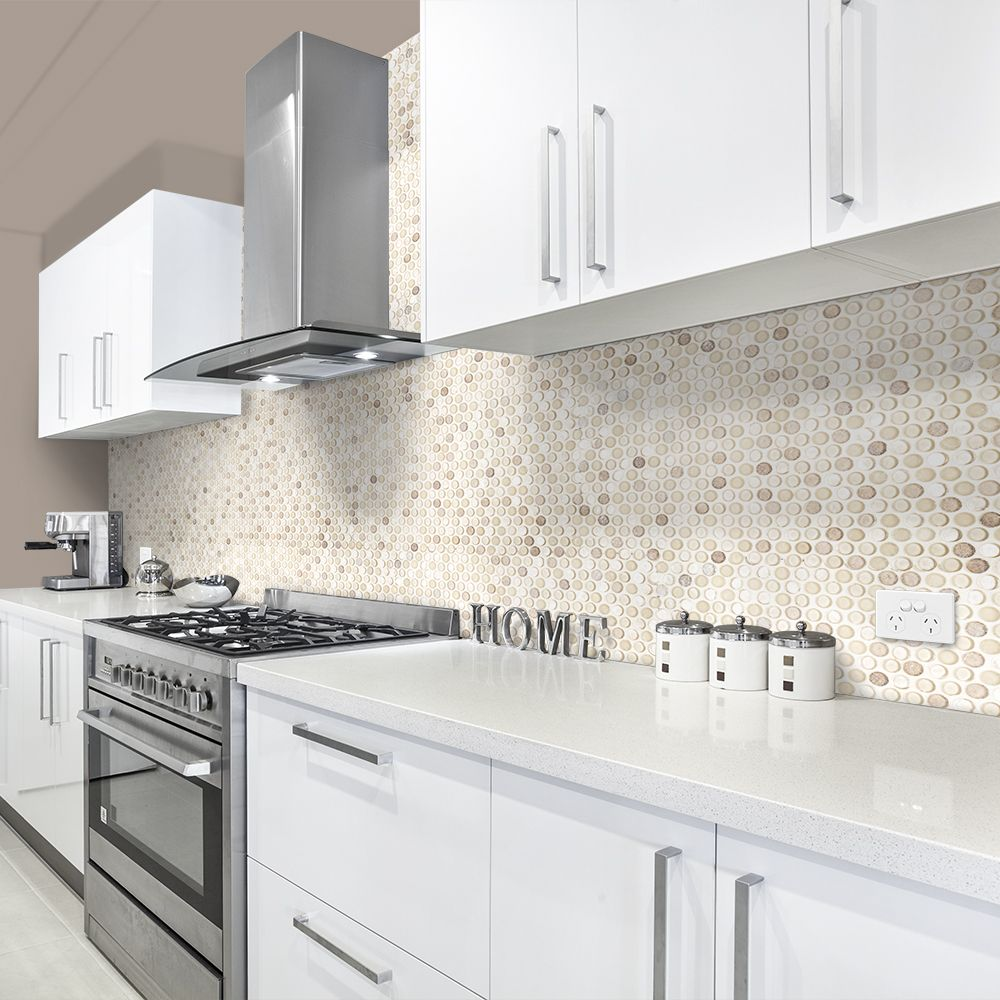 Champagne 3 4 penny round jeffrey court 1 suite - Penny tile backsplash kitchen ...