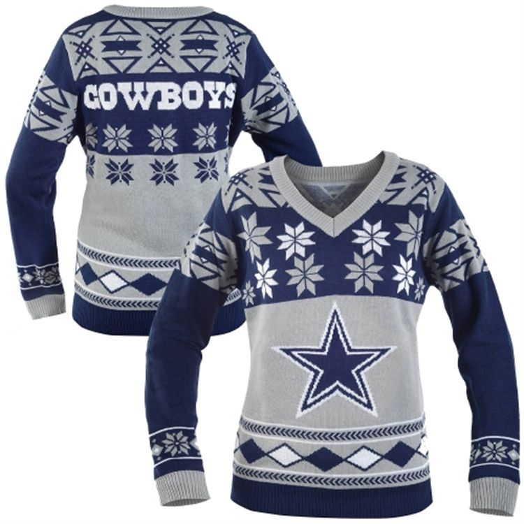 low priced 76839 72f50 Dallas Cowboys Women's Big Logo V-Neck Ugly Sweater - Navy ...