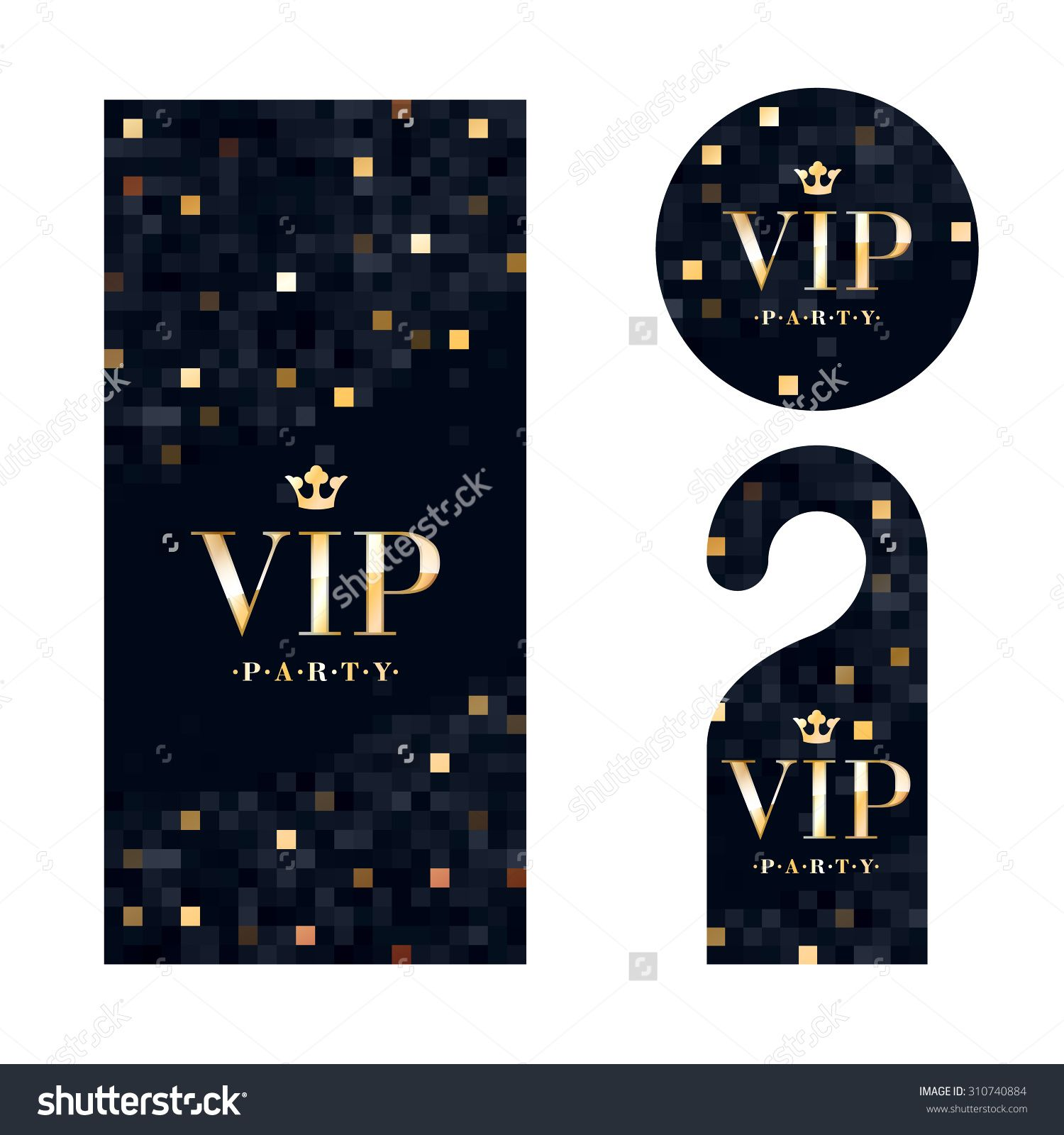 VIP zone members premium invitation card, warning hanger and round ...
