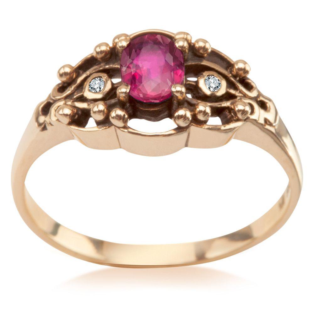 66ad4bf4a2d6ec Kolekcja Wiktoriańska - pierścionek z brylantami i rubinem (9525R - 51797)  - YES