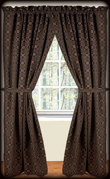 Primitive Lover S Knot Jacquard Fully Lined Curtains Black