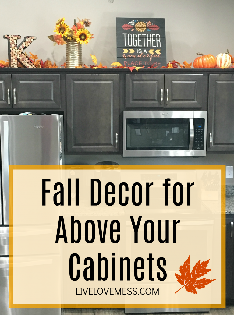 Fall Decor For Above Your Cabinets Allie Kibler Fall Kitchen Decor Fall Kitchen Above Kitchen Cabinets