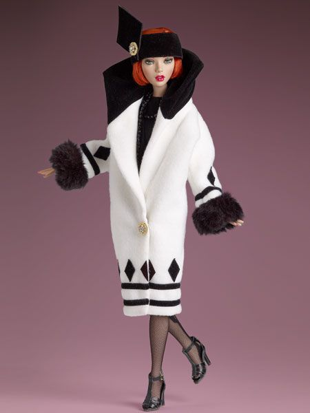 What's black and white and red hot? It's Emma Jean in this dramatic white and black coat, she certainly looks ready to paint the town red.  Emma Jean's Dramatic Entrance - Outfit Only | Tonner Doll Company