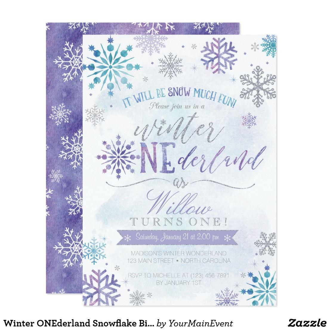 Winter Onederland Snowflake Birthday Invitation Zazzle Com Snowflake Birthday Invitations Frozen Birthday Invitations Winter Onederland Invitations