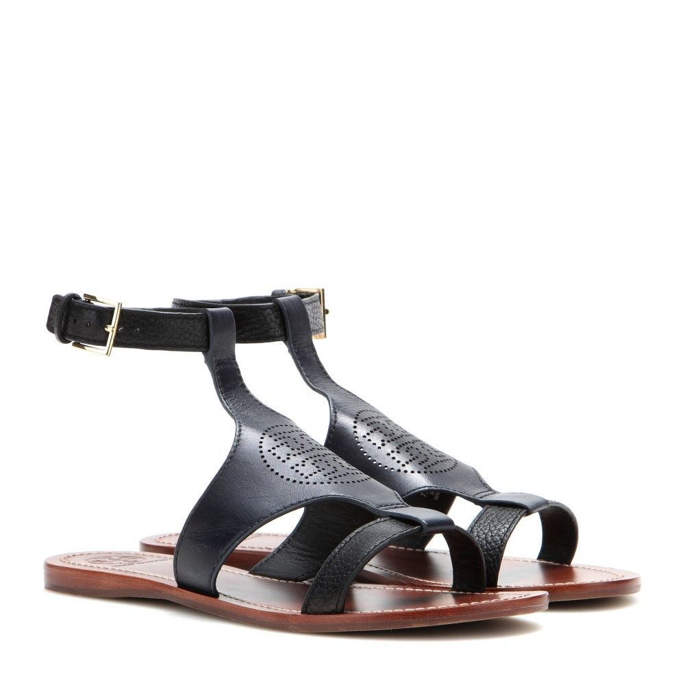 d269e9ddd Tory Burch - Perforated Logo leather sandals - mytheresa.com