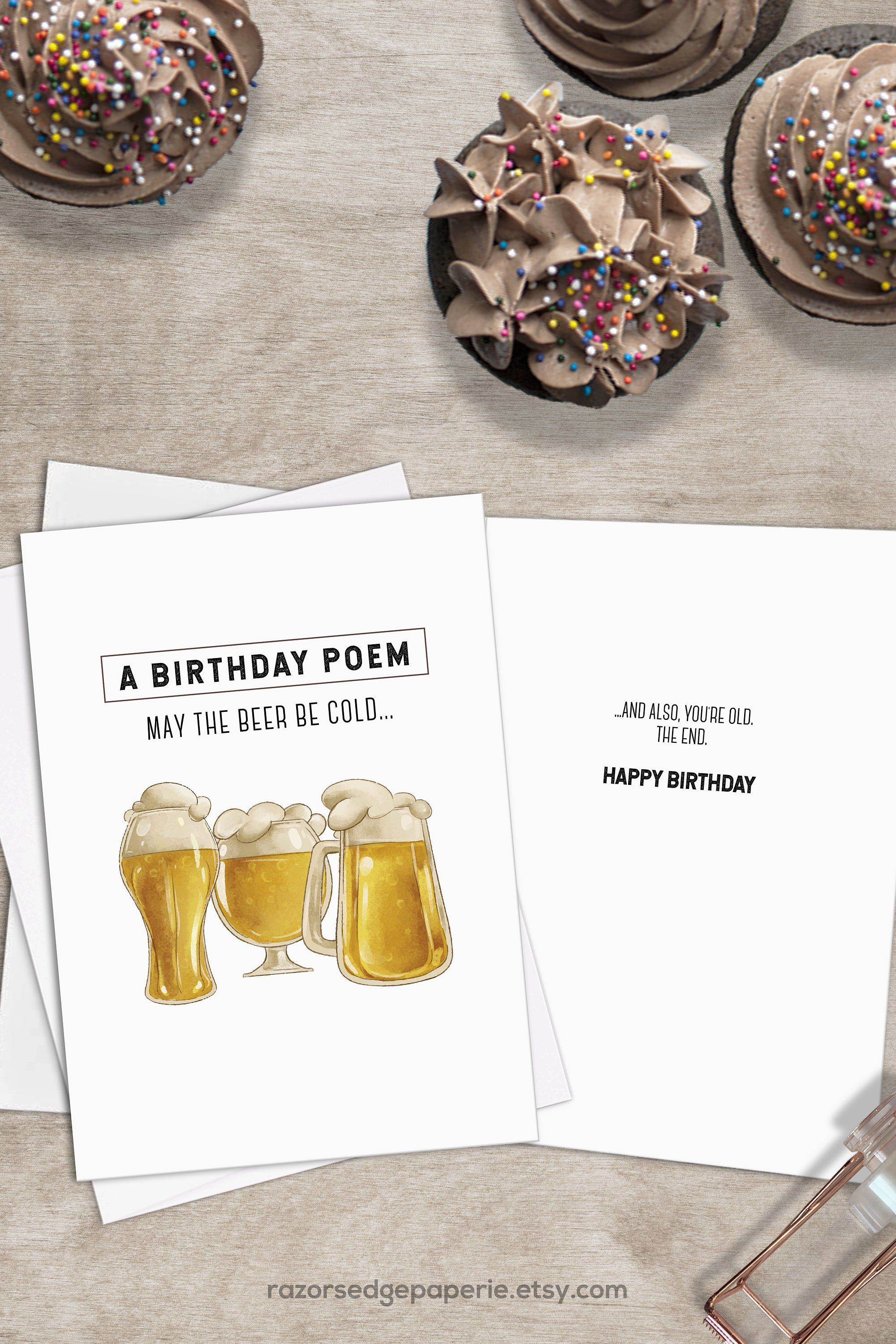 image about Free Printable Funny Birthday Cards for Him called PRINTABLE Beer Birthday Card for Him Prompt Down load
