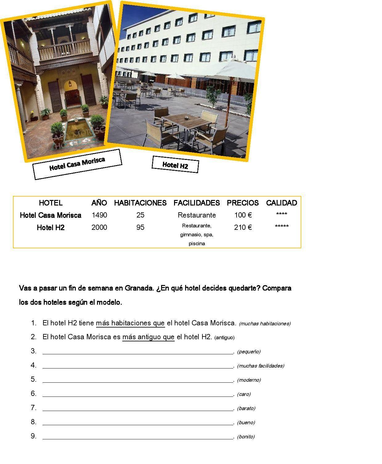 Comparatives Choosing A Hotel Gramatica