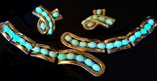 Vintage Crown Trifari Bracelet Earring Set by BrightgemsTreasures, $49.50