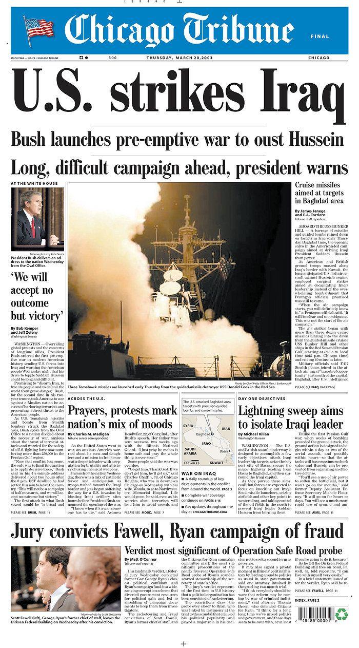 U.S. strikes Iraq, 2003.