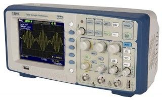 Model 2530B, a 25 MHz, 500 MSa/s Digital Storage Oscilloscope, is our entry-level digital scope, ideal for education both because of its low-cost, as well as the feature to disable auto-setup, allowing students to learn manual scope parameter setup.