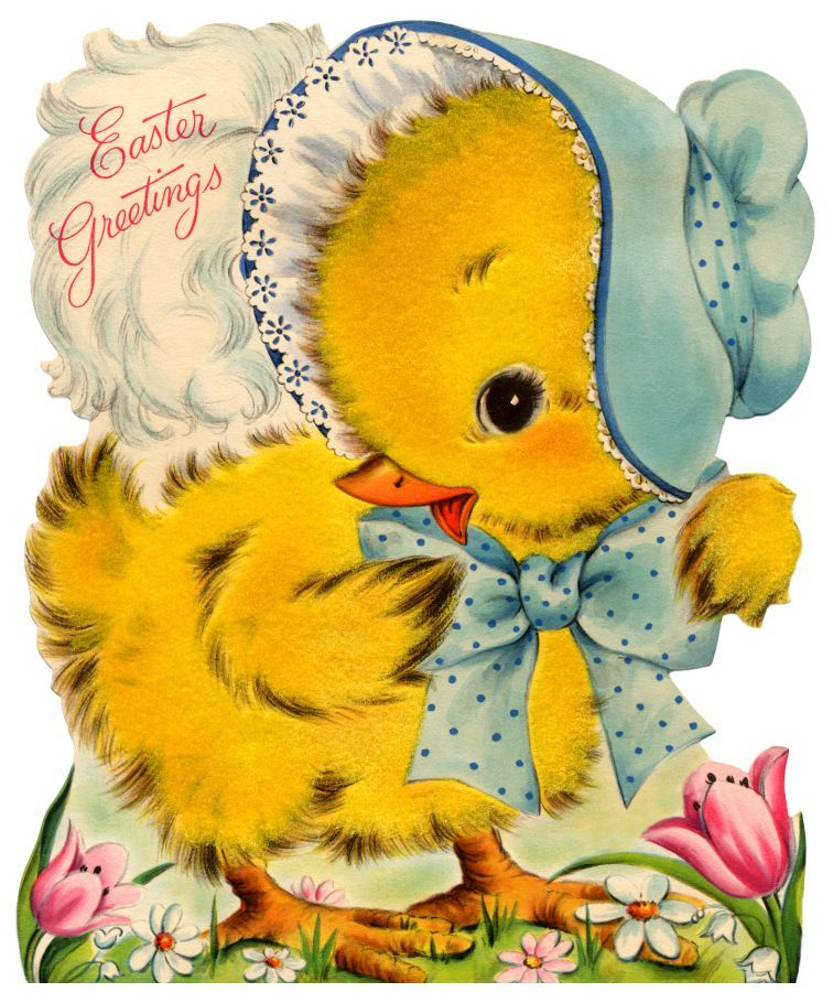vintage easter card - another cute easter chick … | Easter ...