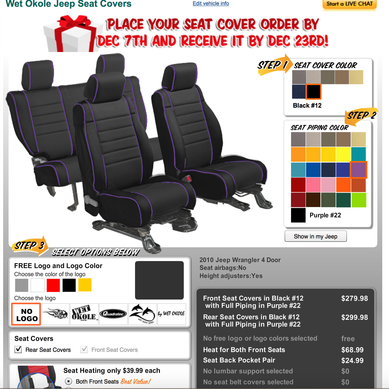 Wet Okole Jeep Seat Covers Black with purple piping, seat
