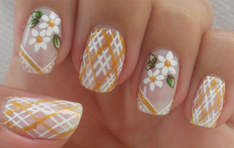 Unhas decoradas delicadas manual bela e simples nail art simple