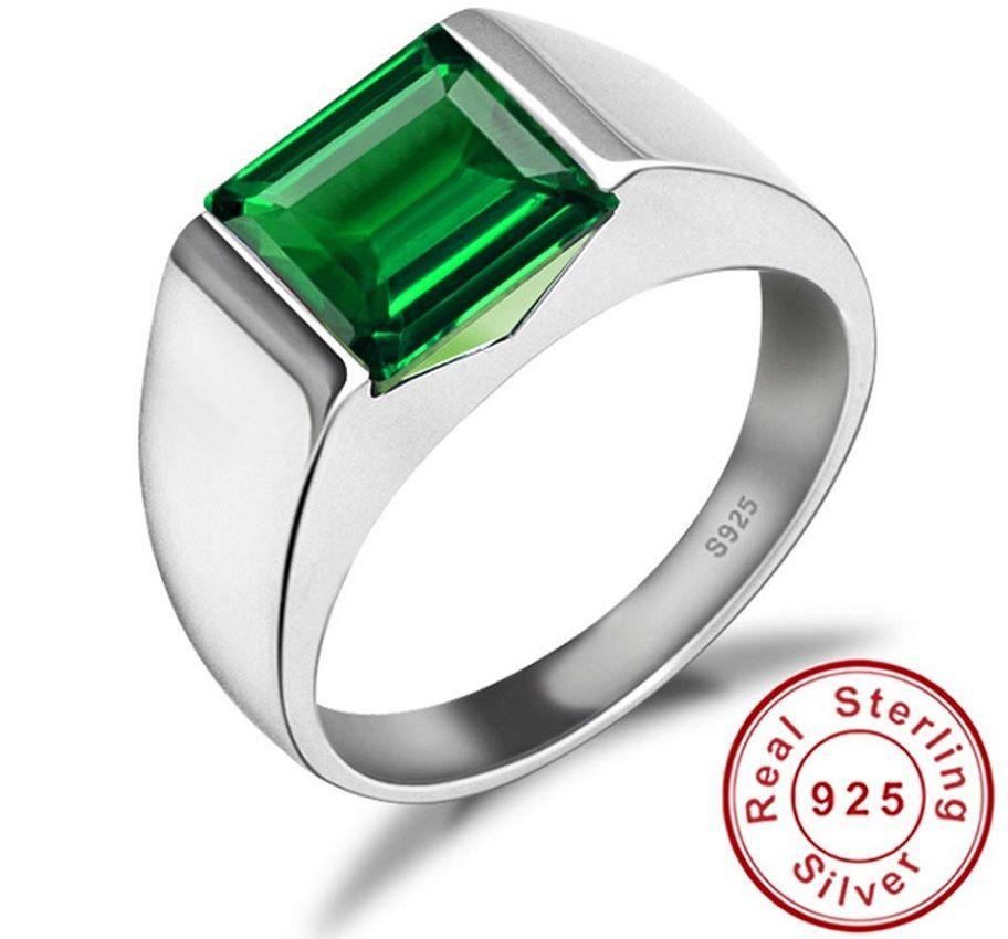 Green Emerald Engagement Wedding Ring For Men Genuine 925 Sterling