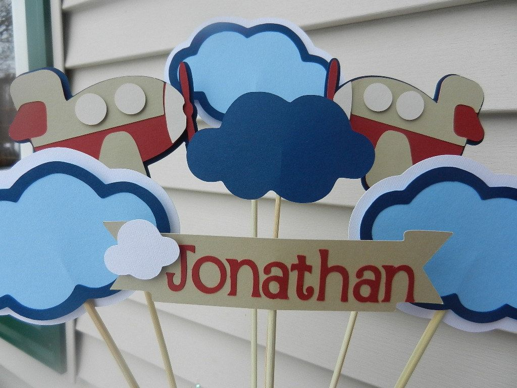 Birthday table decorations boy - Baby Shower Birthday Party Table Centerpiece Decoration Airplane