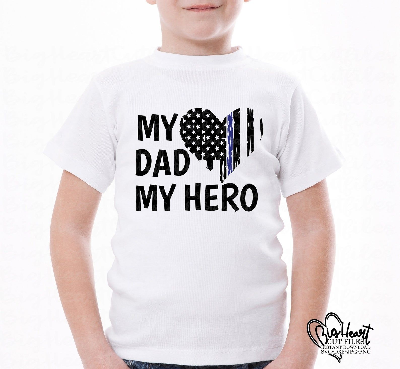 Police My Dad My Hero svg,png,jpg,dxf,thin blue line flag