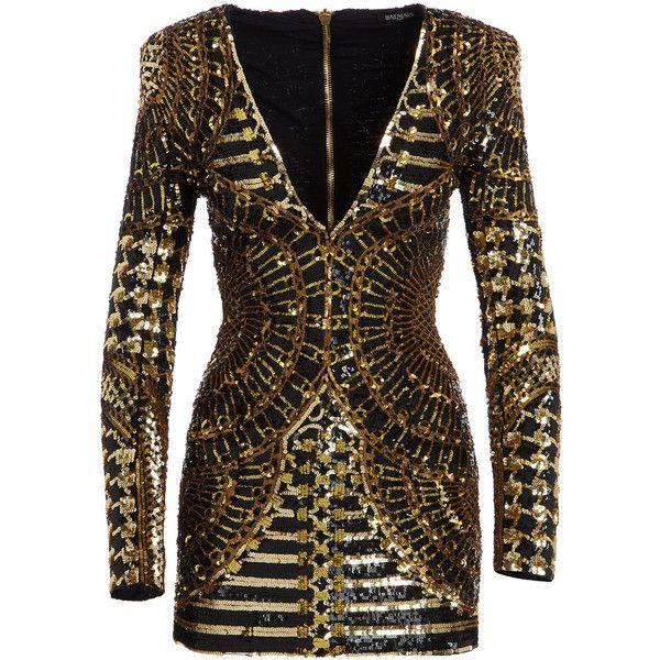 f4add22ad549 Balmain Long-Sleeve Embellished Mini Dress (8 060 AUD) ❤ liked on ...
