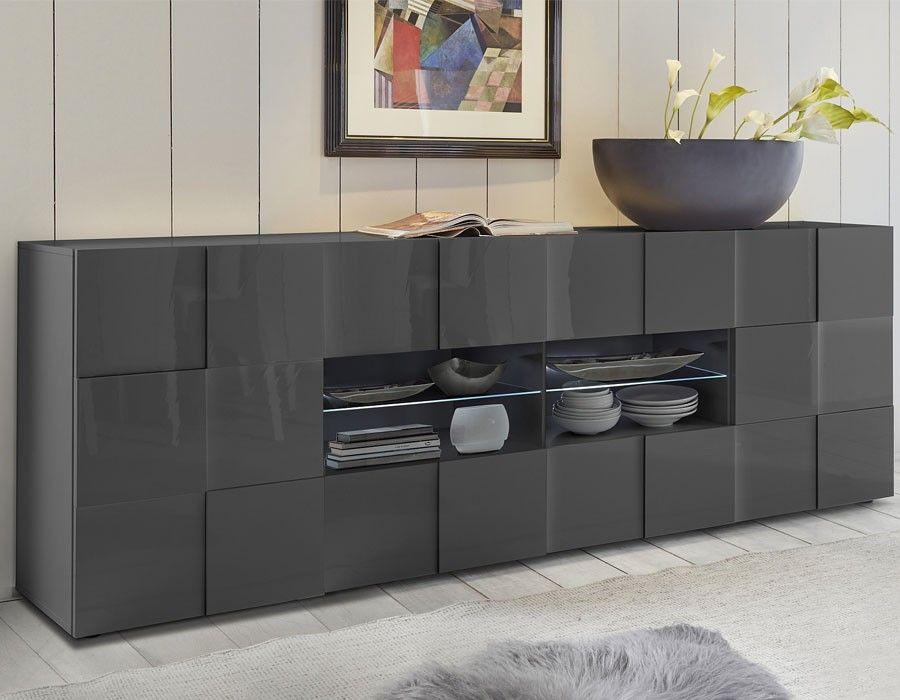 Enfilade design gris laqué ATMORE 2 Buffet design Pinterest - wohnzimmer sideboard design