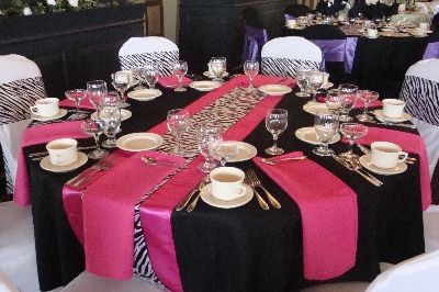 Silver table runner on have 342 zebra satin sashes for 1 89 each pink and zebra wedding table setting bold move junglespirit Images