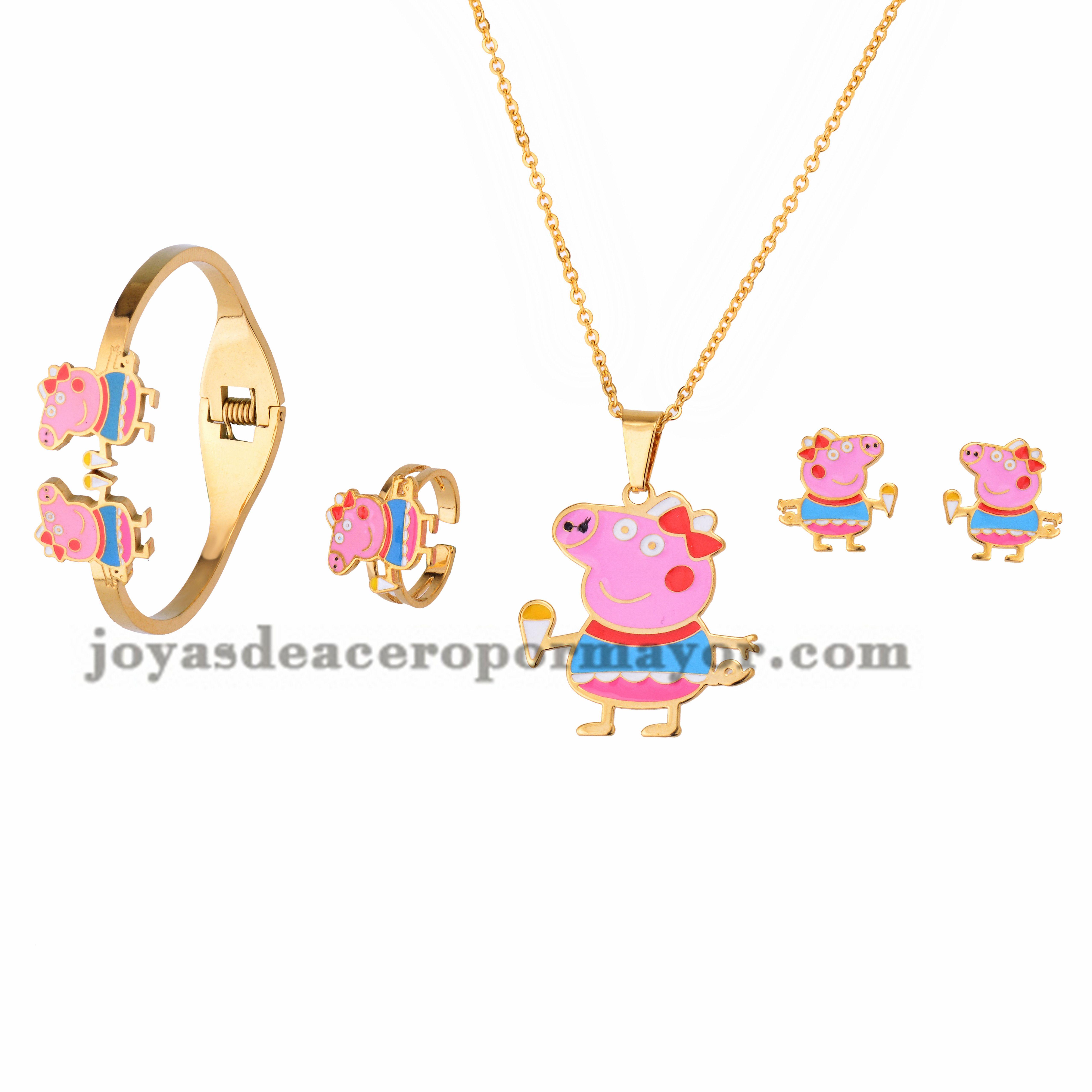 Collar Y Aretes Con Pulsera Y Anillo De Dibujo Animado De Dorado En Jewelry Accessories Gold