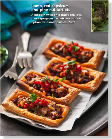 Lamb and pine nut tartlets. Clipped from Better Homes and Gardens using Netpage.