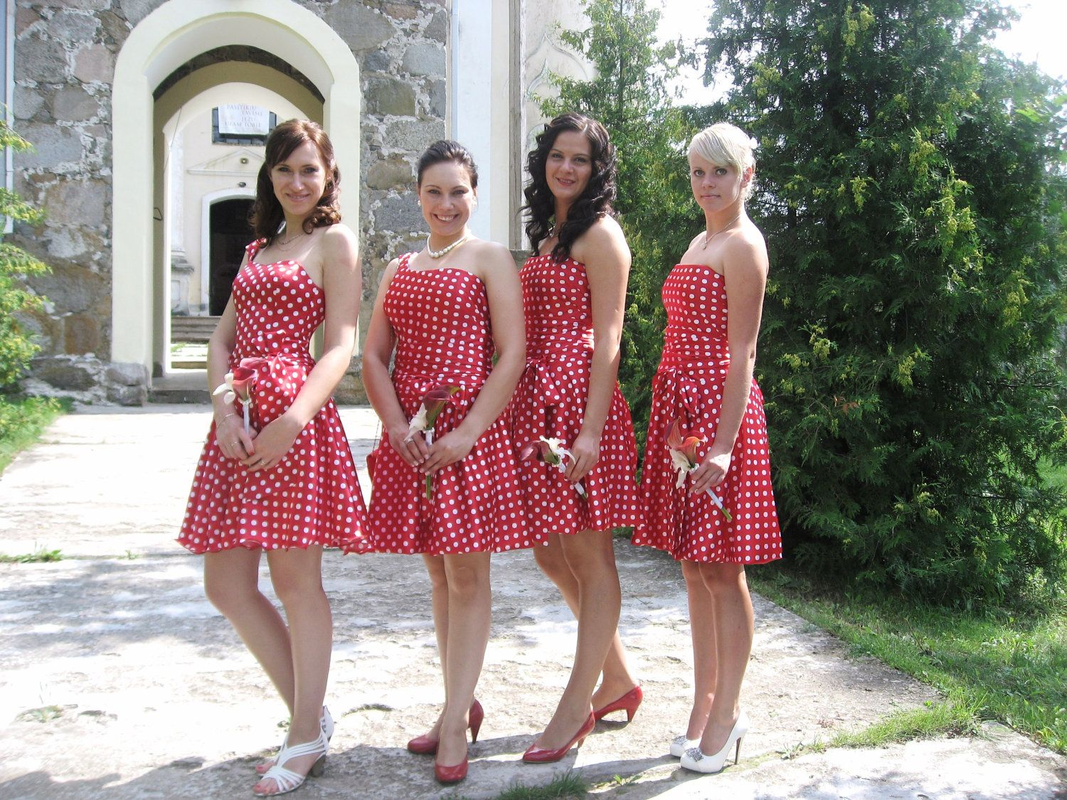 Bridesmaidevening dress Retro style  red white by AldysCreations, $250.00