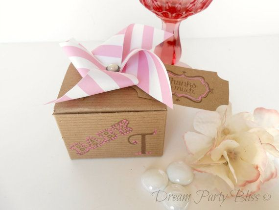 Baby Shower Favor Boxes Pinterest : Baby shower favor boxes shabby chic pinwheel girl hand