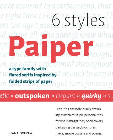 Created by Diana Ovezea, our new type family Paiper comes with flared serifs inspired by folded strips of paper.